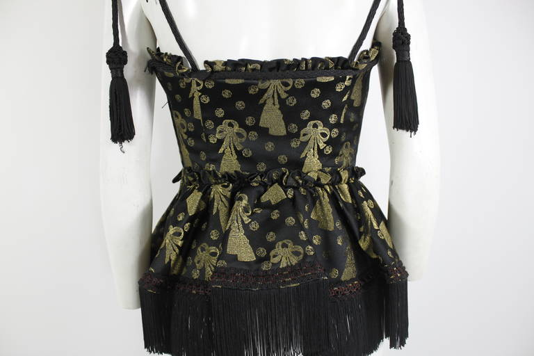 Moschino 1990s Black and Gold Brocade Lampshade Bustier 5