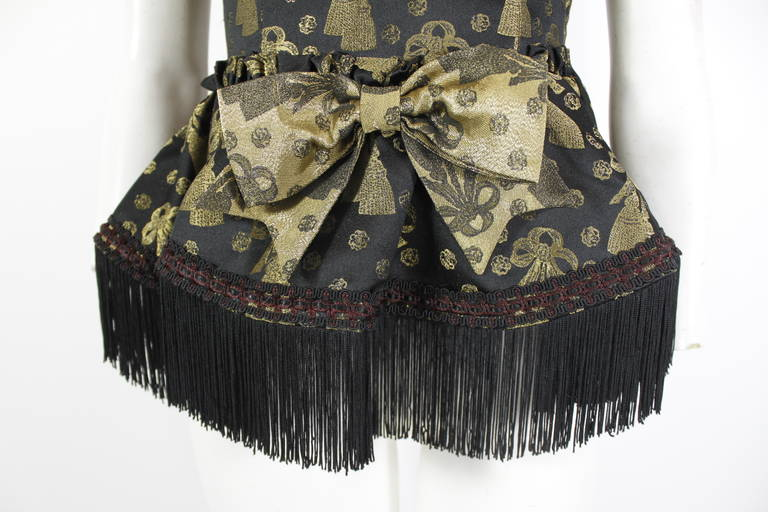 Moschino 1990s Black and Gold Brocade Lampshade Bustier 8