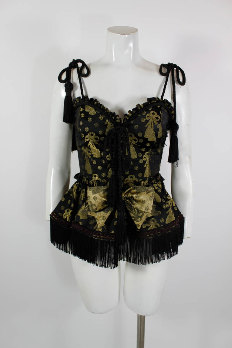 Moschino 1990s Black and Gold Brocade Lampshade Bustier 7