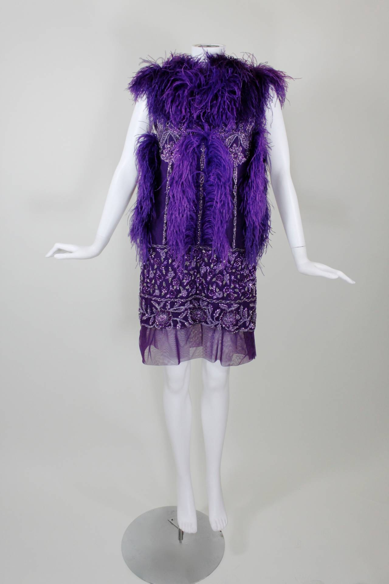 reem acra purple beaded mini dress with ostrich feather