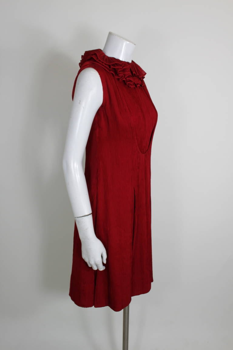 galanos 1980s red micropleated cocktail dress with ruffle
