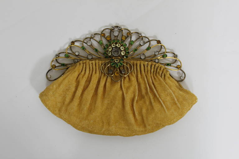 Josef 1950s Canary Yellow Hand-Beaded Clutch with Hobé Hardware 2