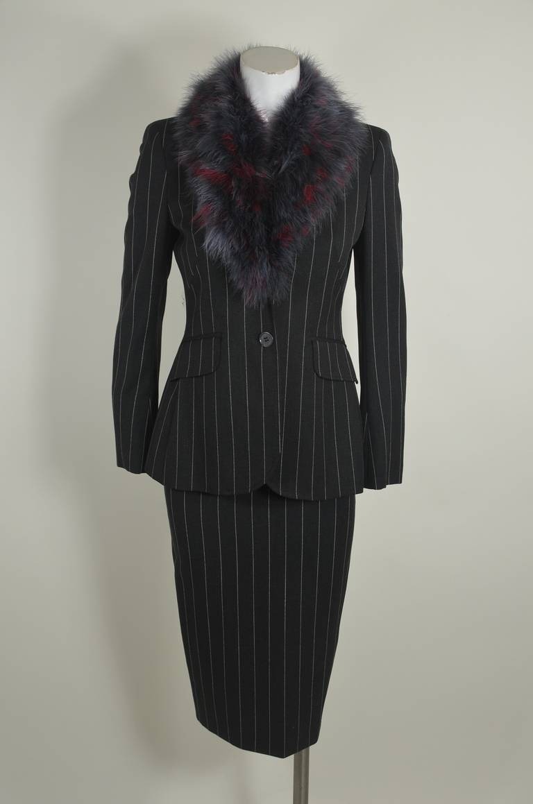 Moschino 1990s Maribou Trimmed Pinstripe Skirt Suit 2