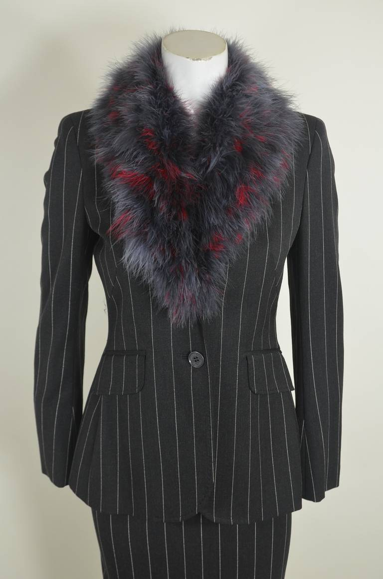 Moschino 1990s Maribou Trimmed Pinstripe Skirt Suit 3