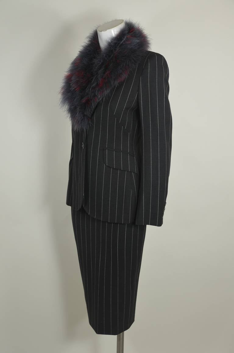 Moschino 1990s Maribou Trimmed Pinstripe Skirt Suit 4