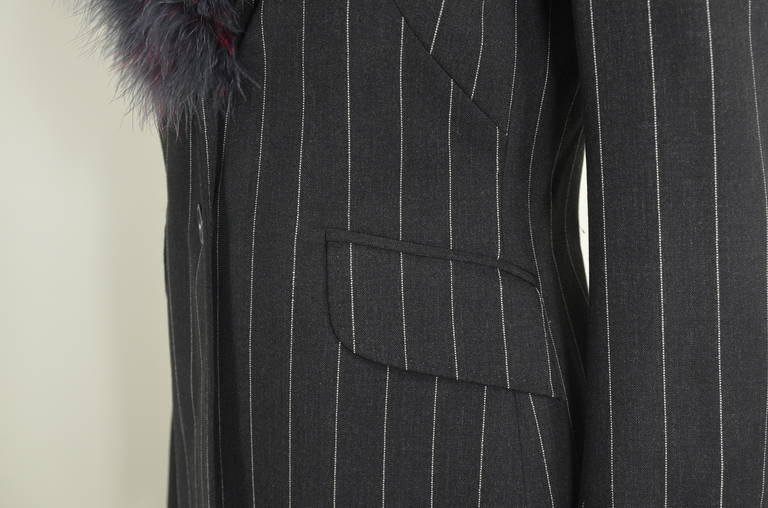Moschino 1990s Maribou Trimmed Pinstripe Skirt Suit 5