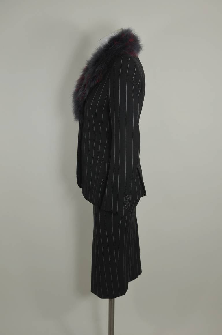 Moschino 1990s Maribou Trimmed Pinstripe Skirt Suit 7