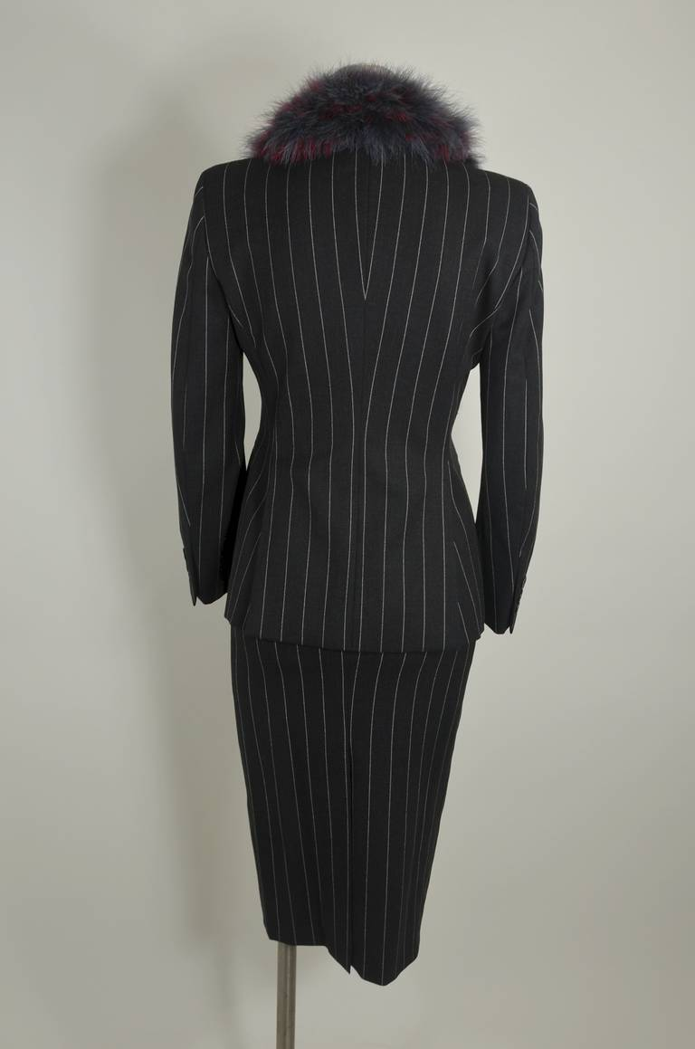 Moschino 1990s Maribou Trimmed Pinstripe Skirt Suit 8