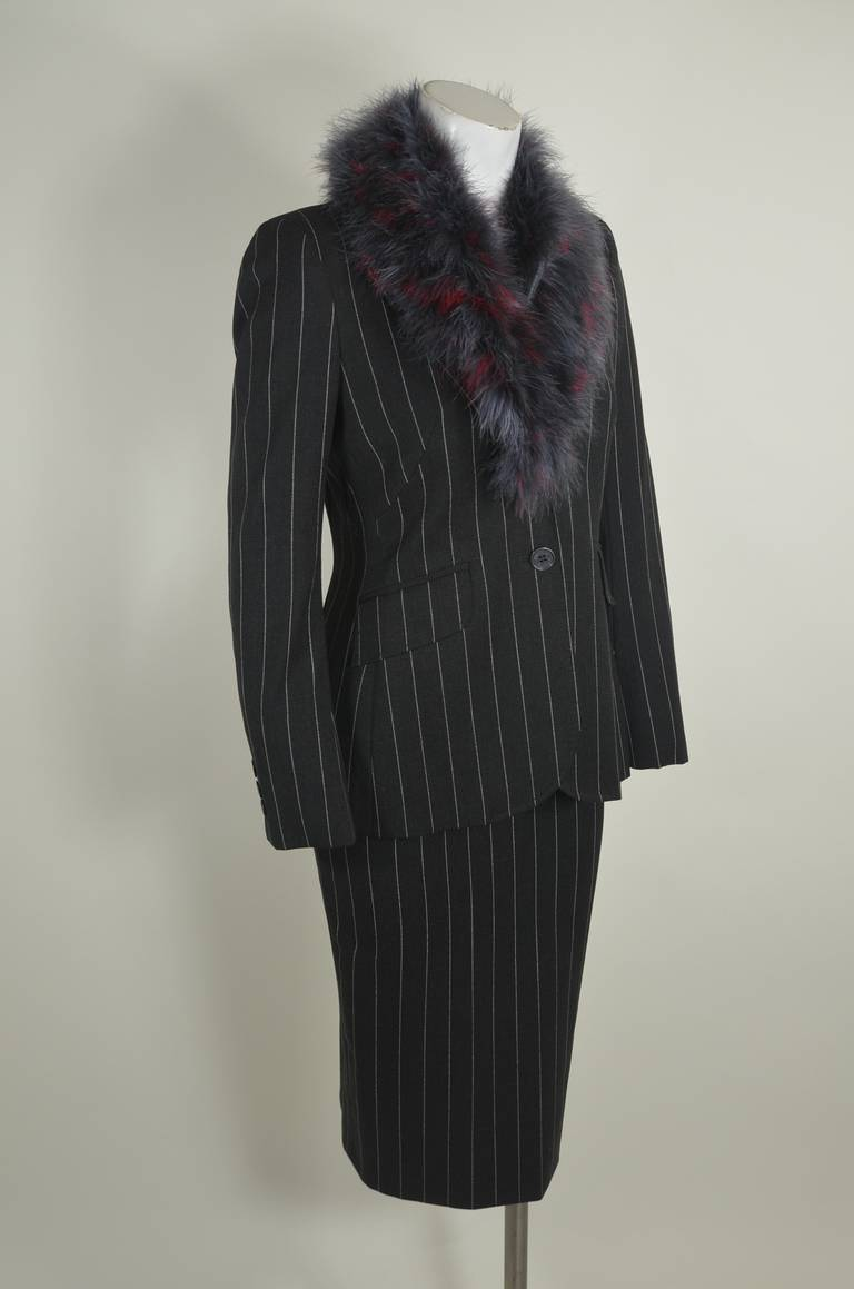 Moschino 1990s Maribou Trimmed Pinstripe Skirt Suit 9
