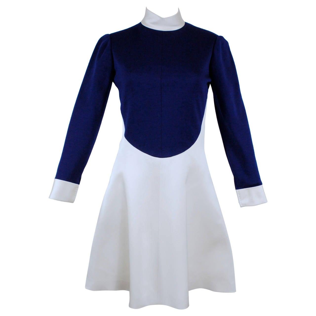 1960s Geoffrey Beene Navy Wool and Eggshell Mod Dress 1
