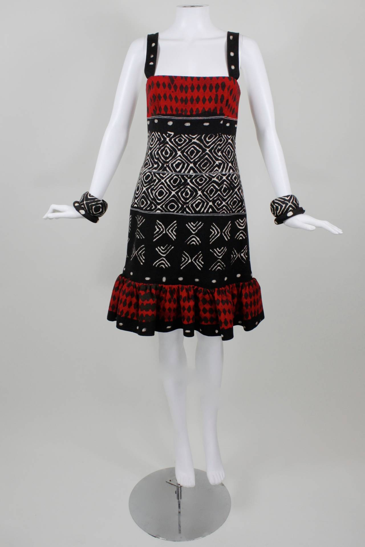 Oscar de la Renta Printed Cotton Dress with Matching Bangles 2