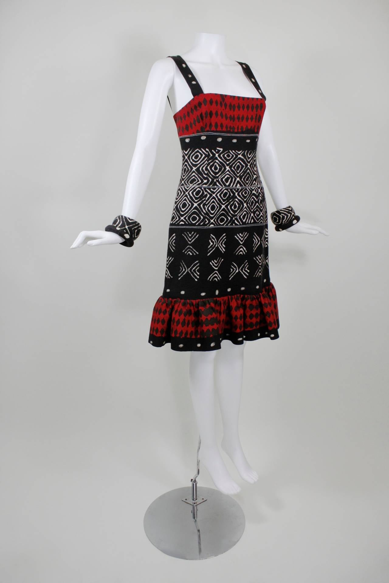 Oscar de la Renta Printed Cotton Dress with Matching Bangles 3