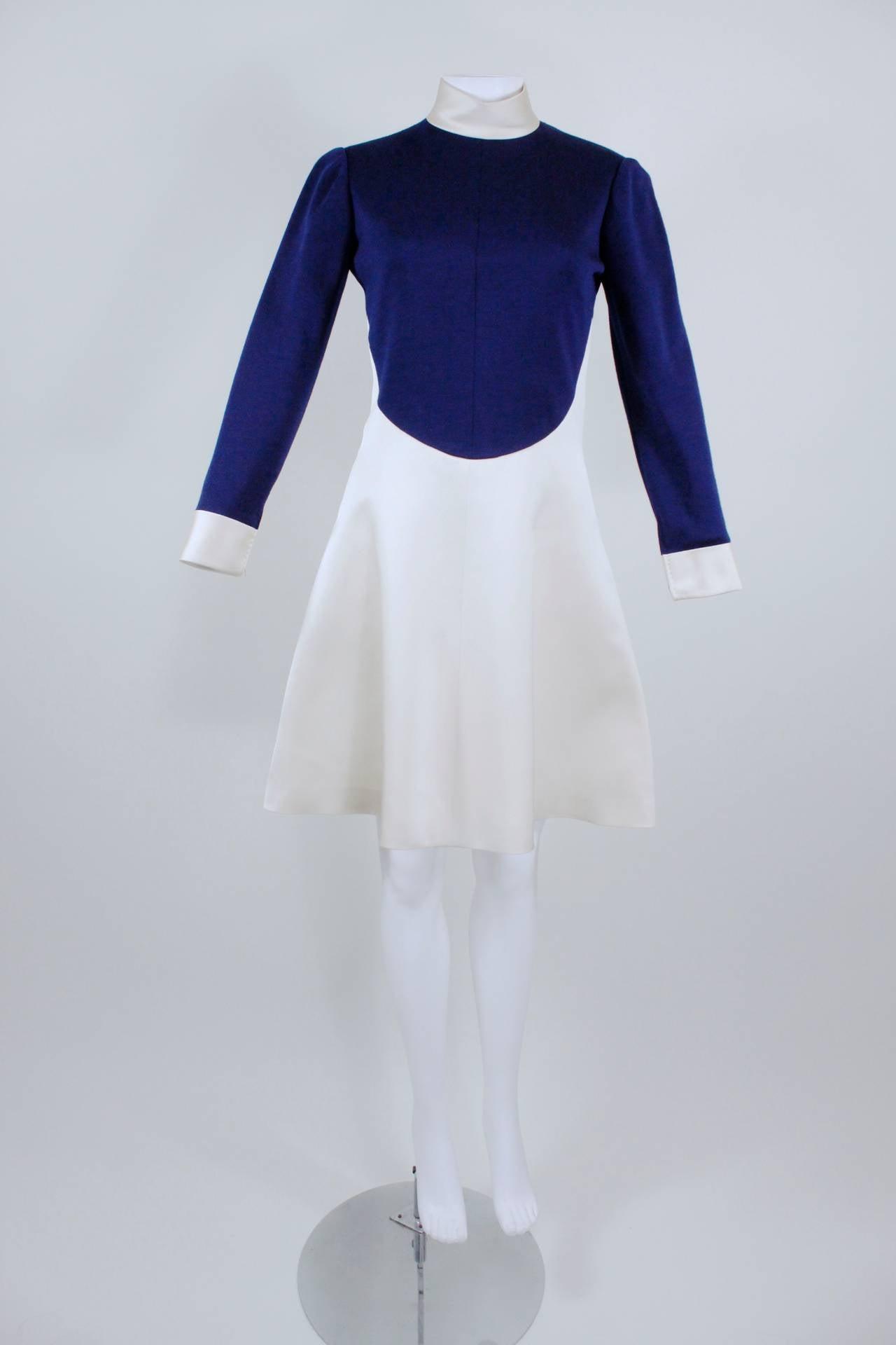 1960s Geoffrey Beene Navy Wool and Eggshell Mod Dress 2