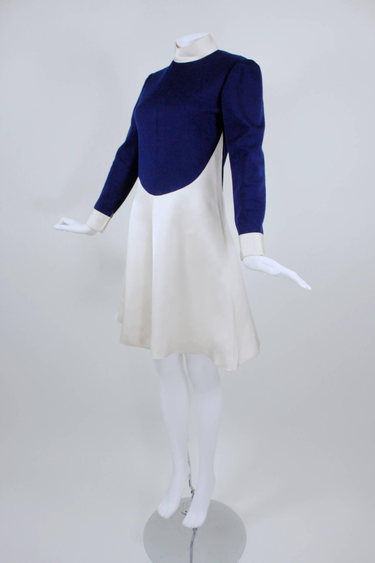 1960s Geoffrey Beene Navy Wool and Eggshell Mod Dress 3