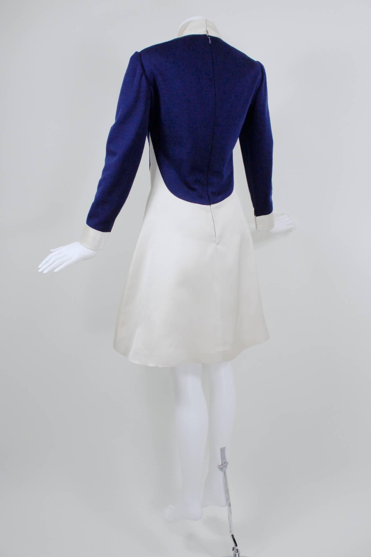 1960s Geoffrey Beene Navy Wool and Eggshell Mod Dress 4