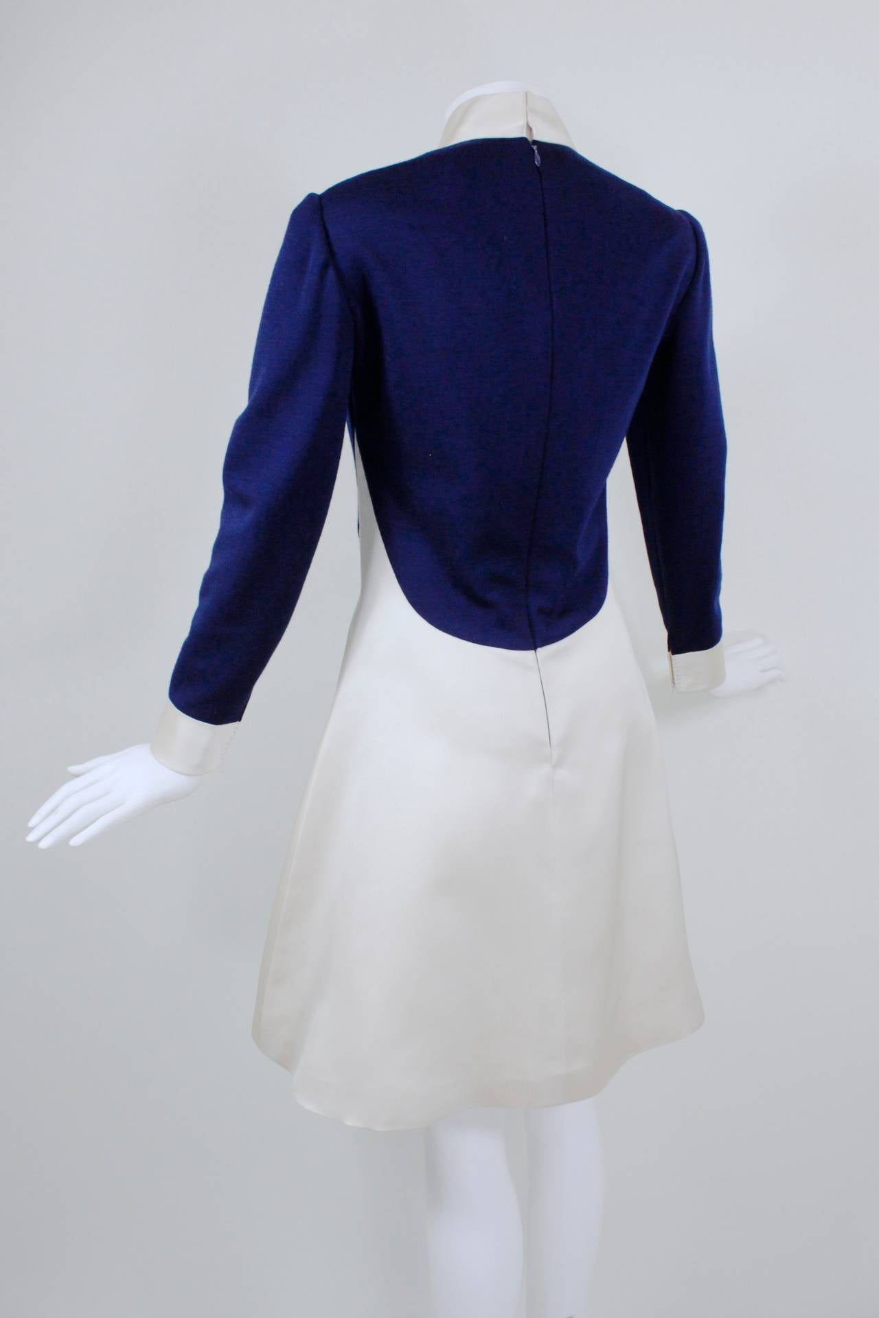 1960s Geoffrey Beene Navy Wool and Eggshell Mod Dress 7