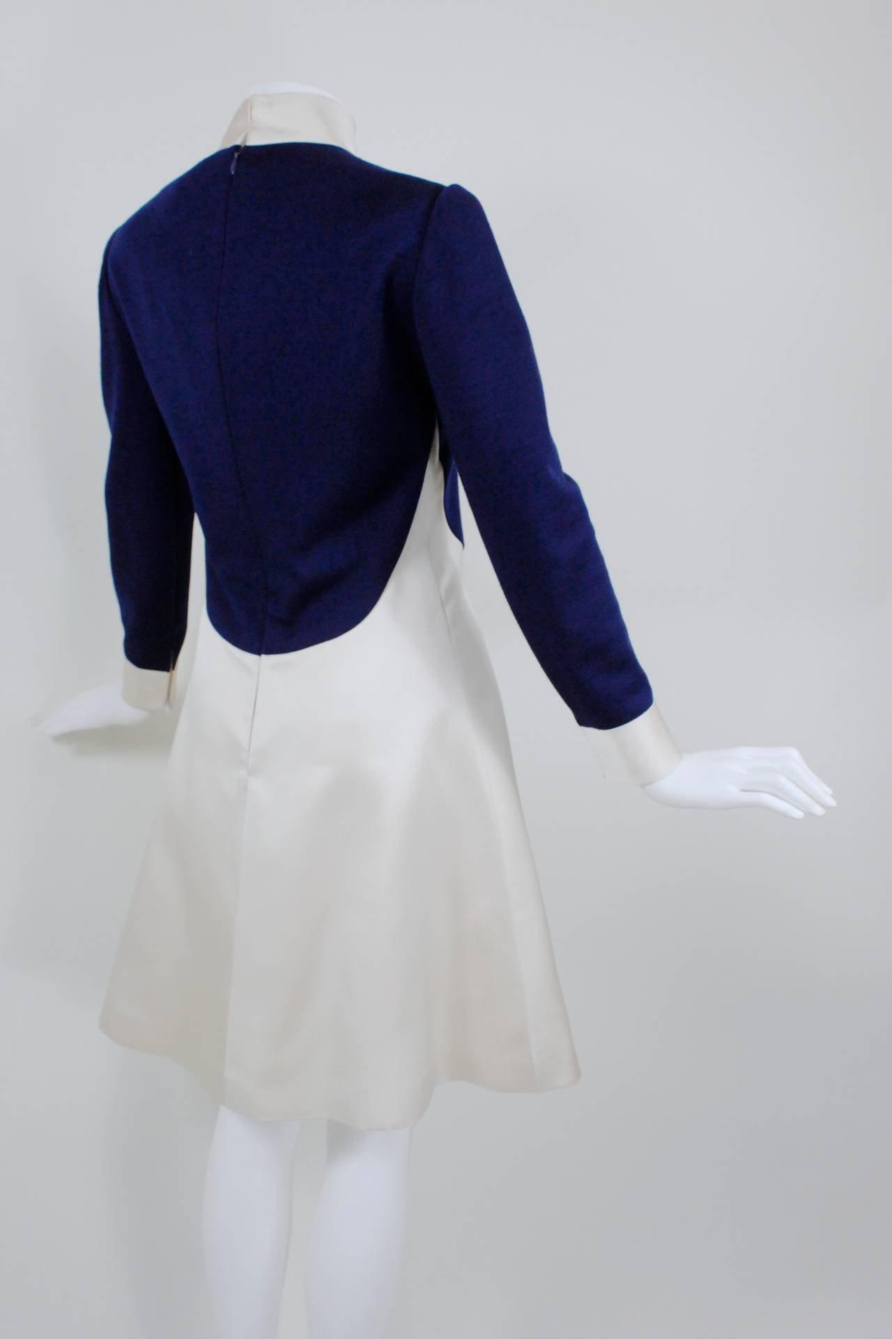 1960s Geoffrey Beene Navy Wool and Eggshell Mod Dress 6