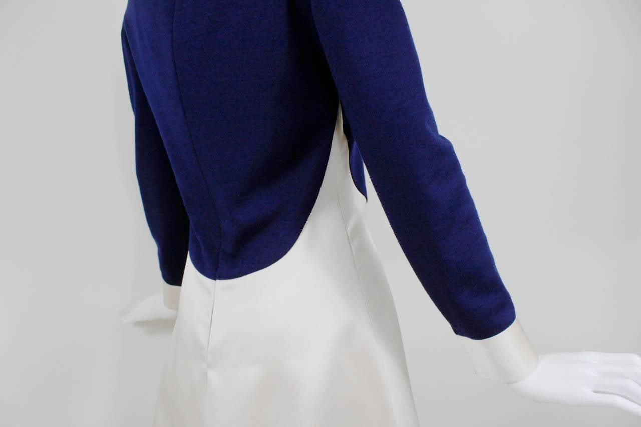 1960s Geoffrey Beene Navy Wool and Eggshell Mod Dress 8