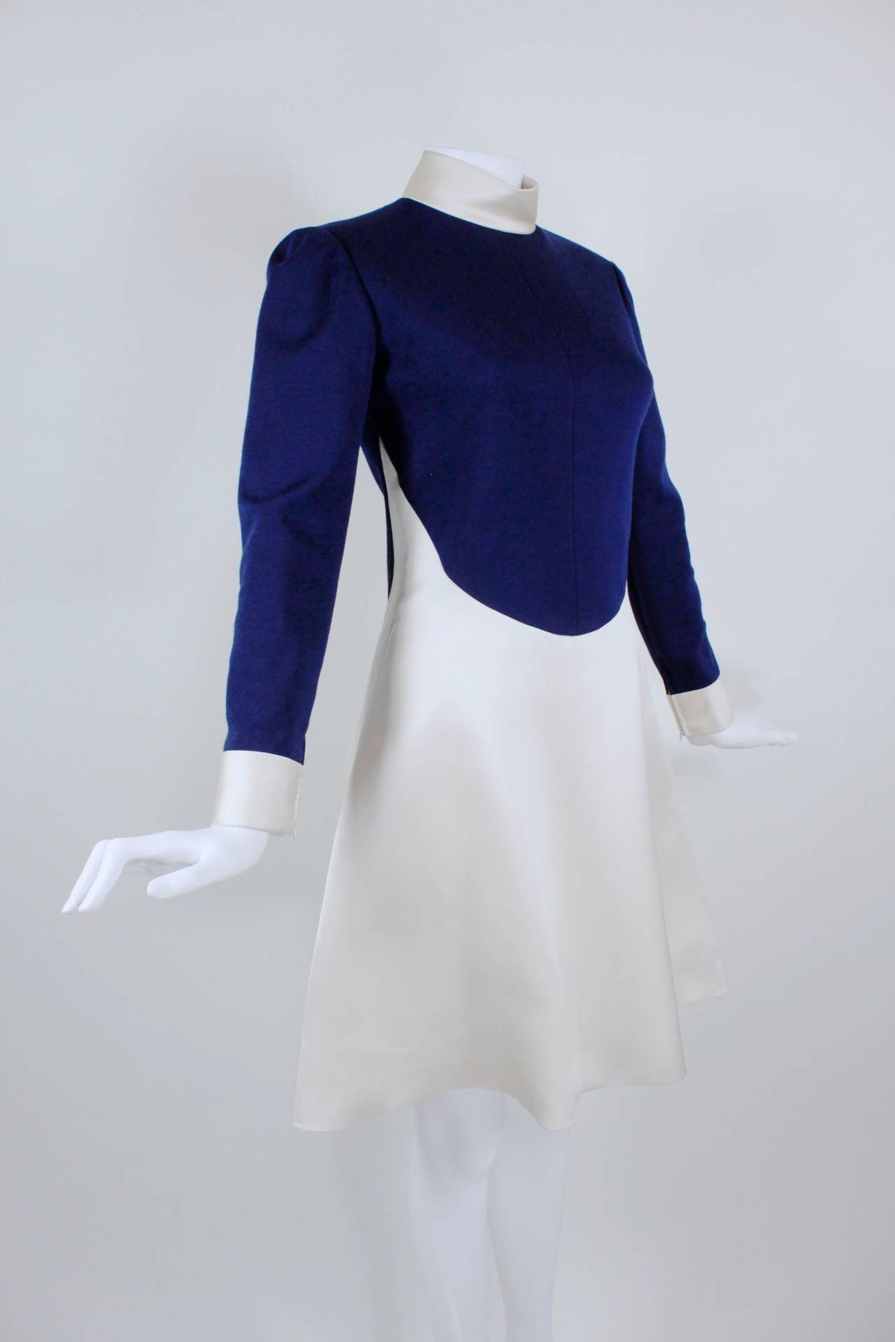1960s Geoffrey Beene Navy Wool and Eggshell Mod Dress 5