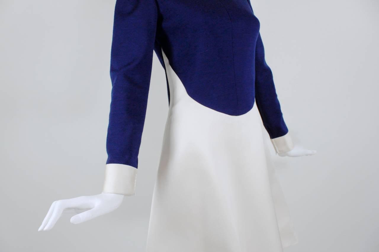 1960s Geoffrey Beene Navy Wool and Eggshell Mod Dress 9