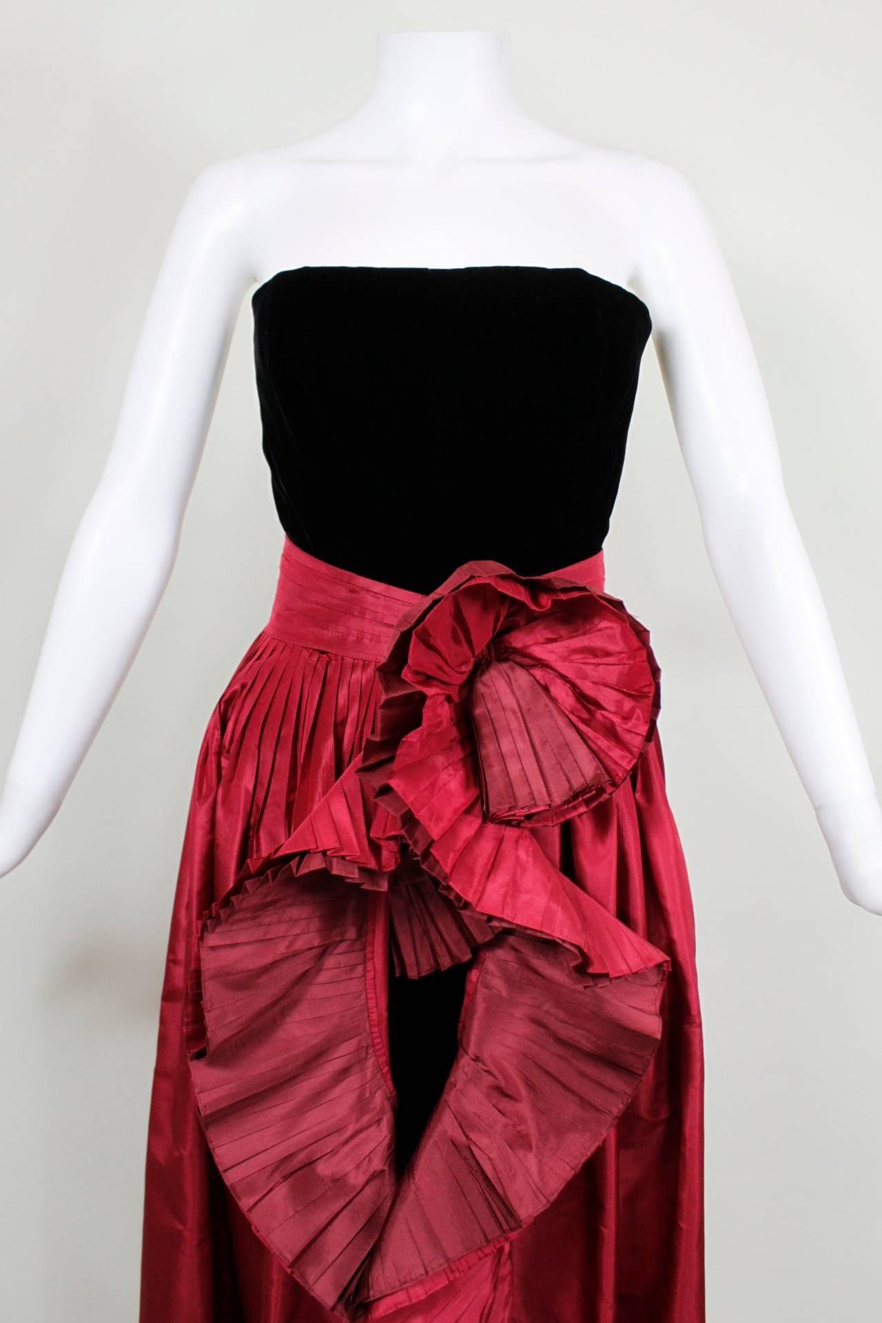 Women's 1980s Nina Ricci Velvet Strapless Jumpsuit with Silk Taffeta Overskirt For Sale