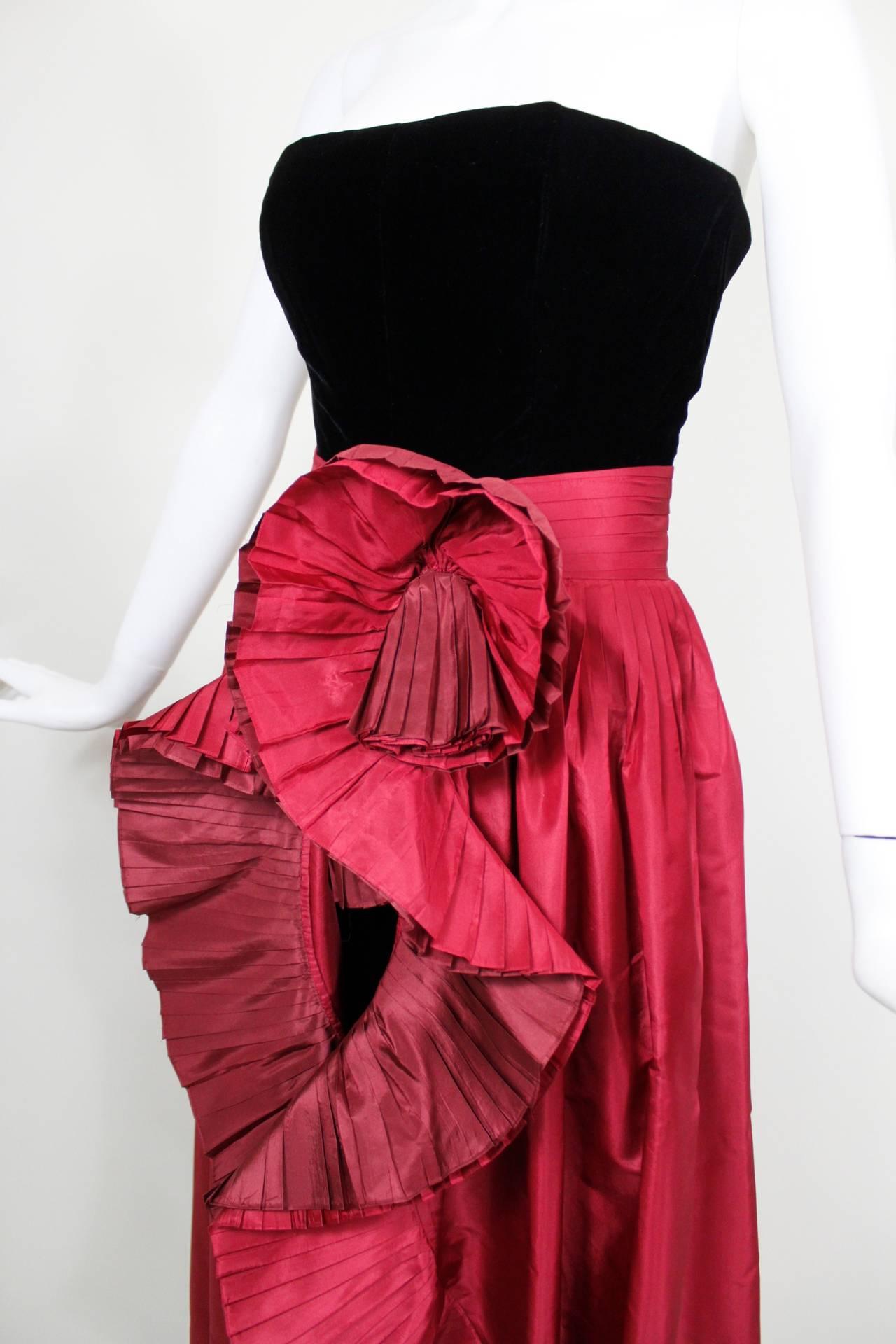 1980s Nina Ricci Velvet Strapless Jumpsuit with Silk Taffeta Overskirt For Sale 1