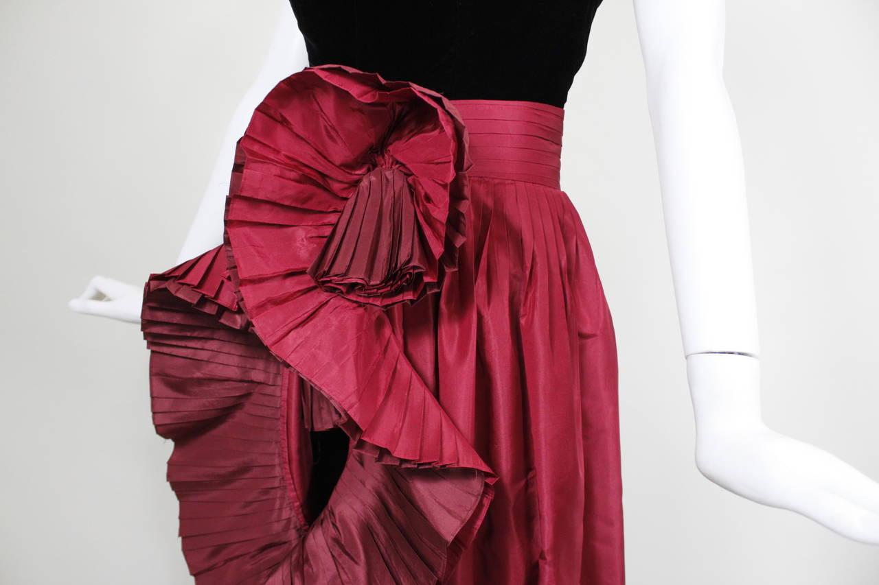 1980s Nina Ricci Velvet Strapless Jumpsuit with Silk Taffeta Overskirt For Sale 2