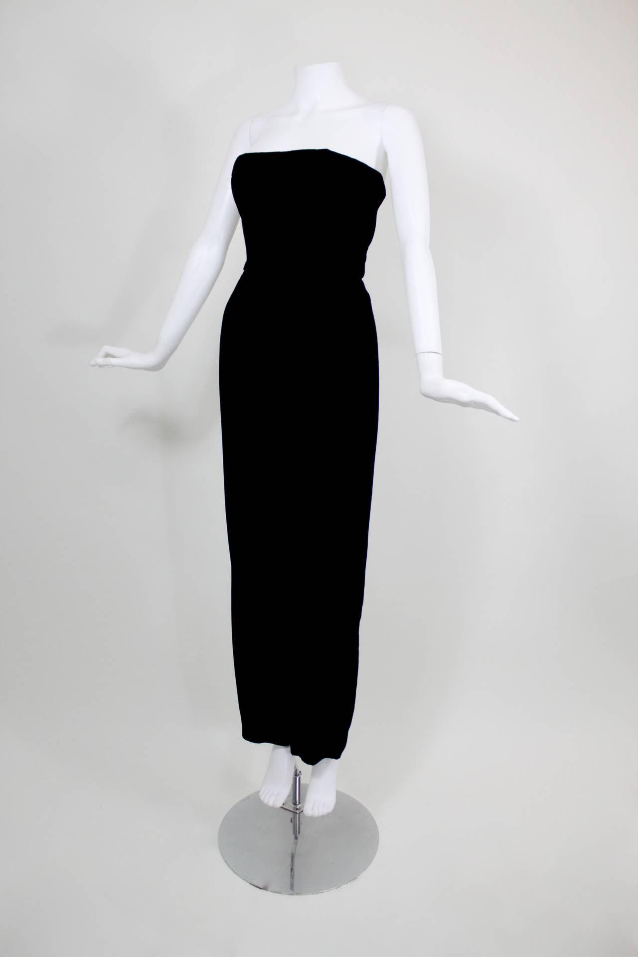 1980s Nina Ricci Velvet Strapless Jumpsuit with Silk Taffeta Overskirt For Sale 3