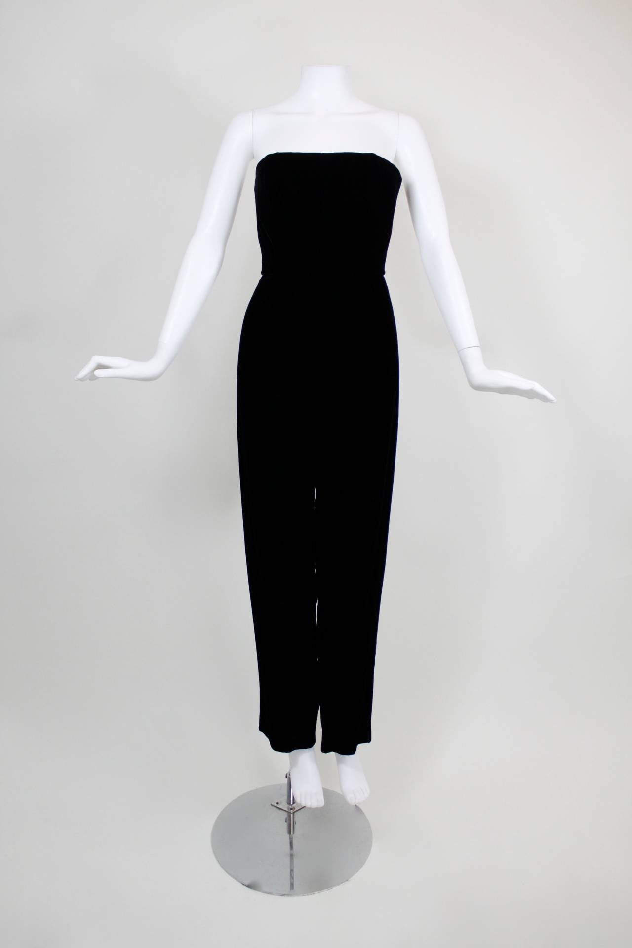 1980s Nina Ricci Velvet Strapless Jumpsuit with Silk Taffeta Overskirt For Sale 4