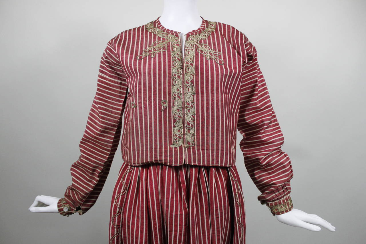 Turkish Silk Moire Striped Harem Pant Ensemble with Bullion Embroidery 8