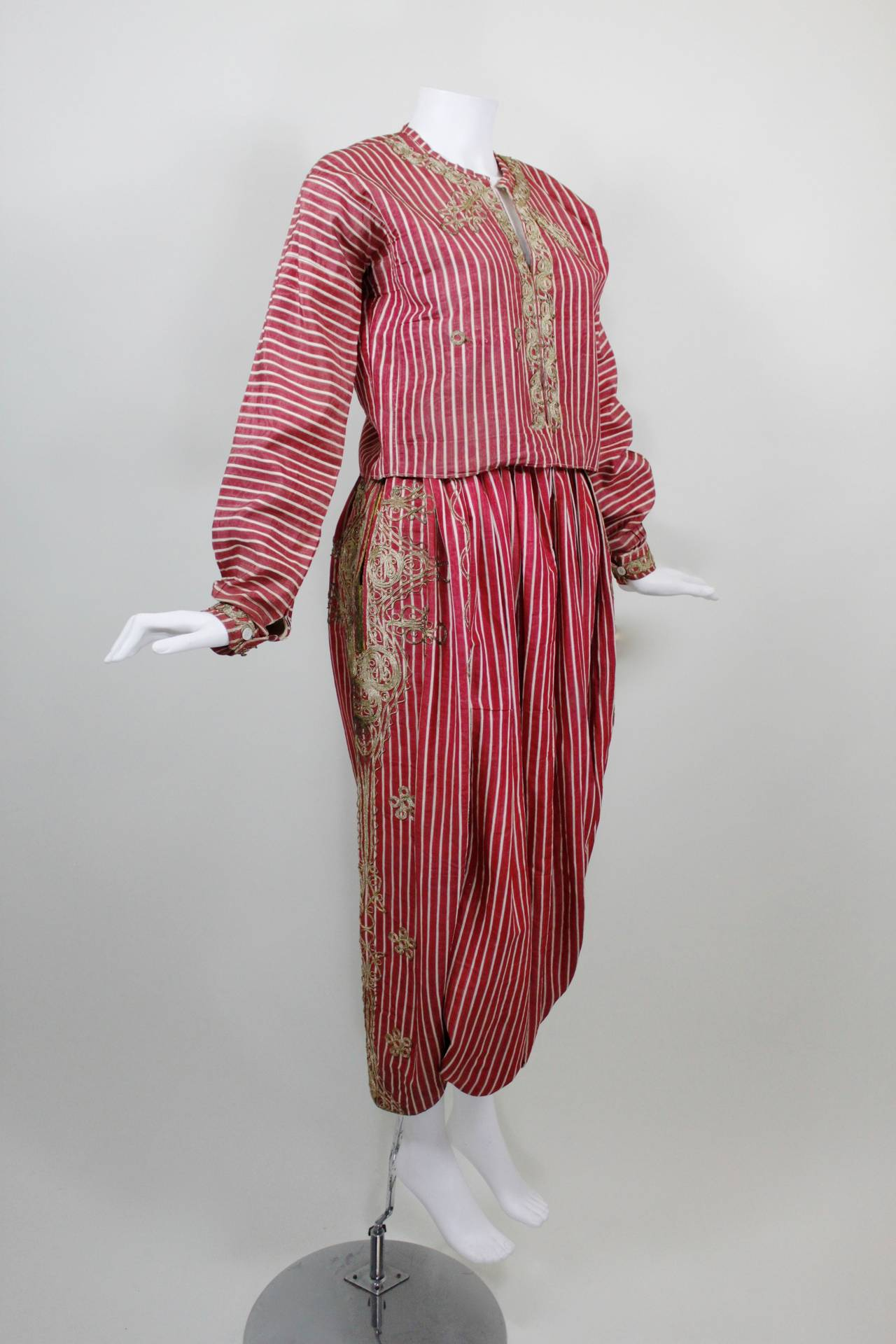 Turkish Silk Moire Striped Harem Pant Ensemble with Bullion Embroidery 2