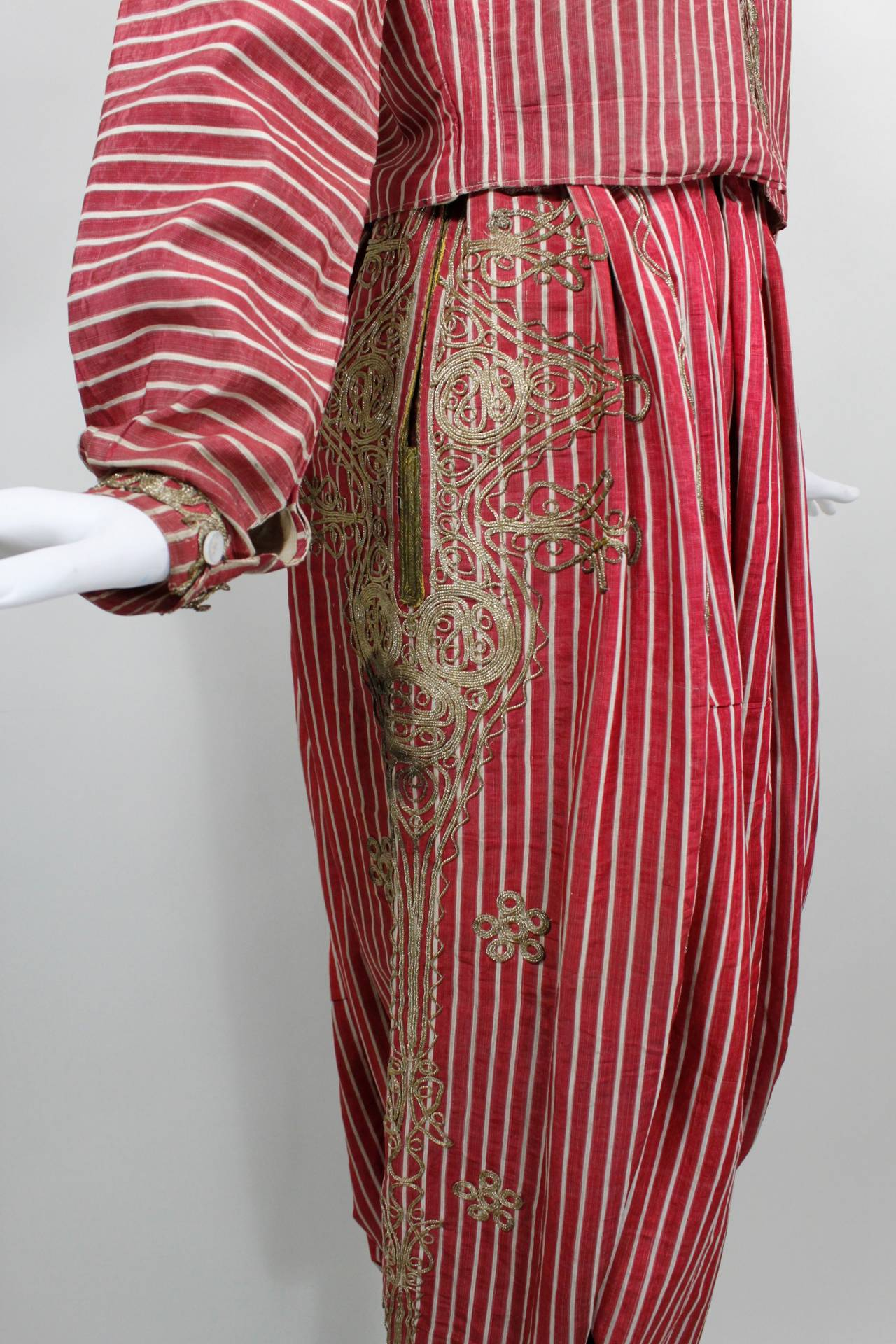 Turkish Silk Moire Striped Harem Pant Ensemble with Bullion Embroidery 7