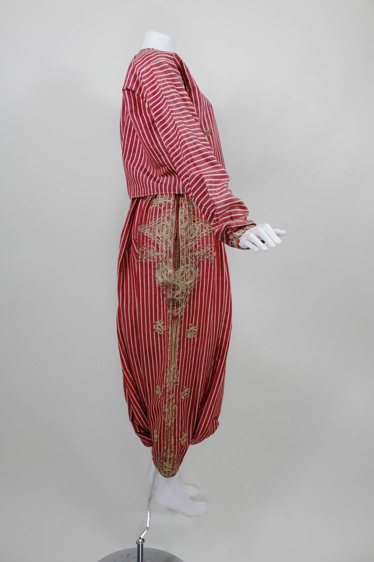 Turkish Silk Moire Striped Harem Pant Ensemble with Bullion Embroidery 4