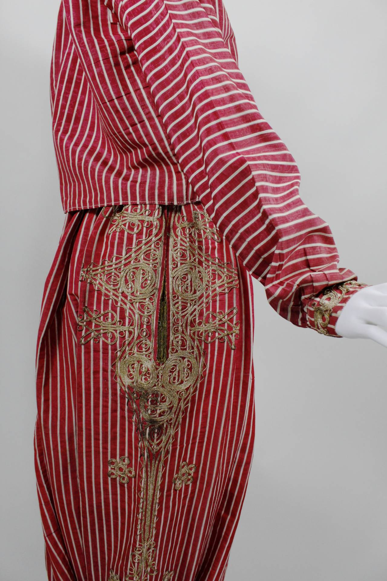 Turkish Silk Moire Striped Harem Pant Ensemble with Bullion Embroidery 6