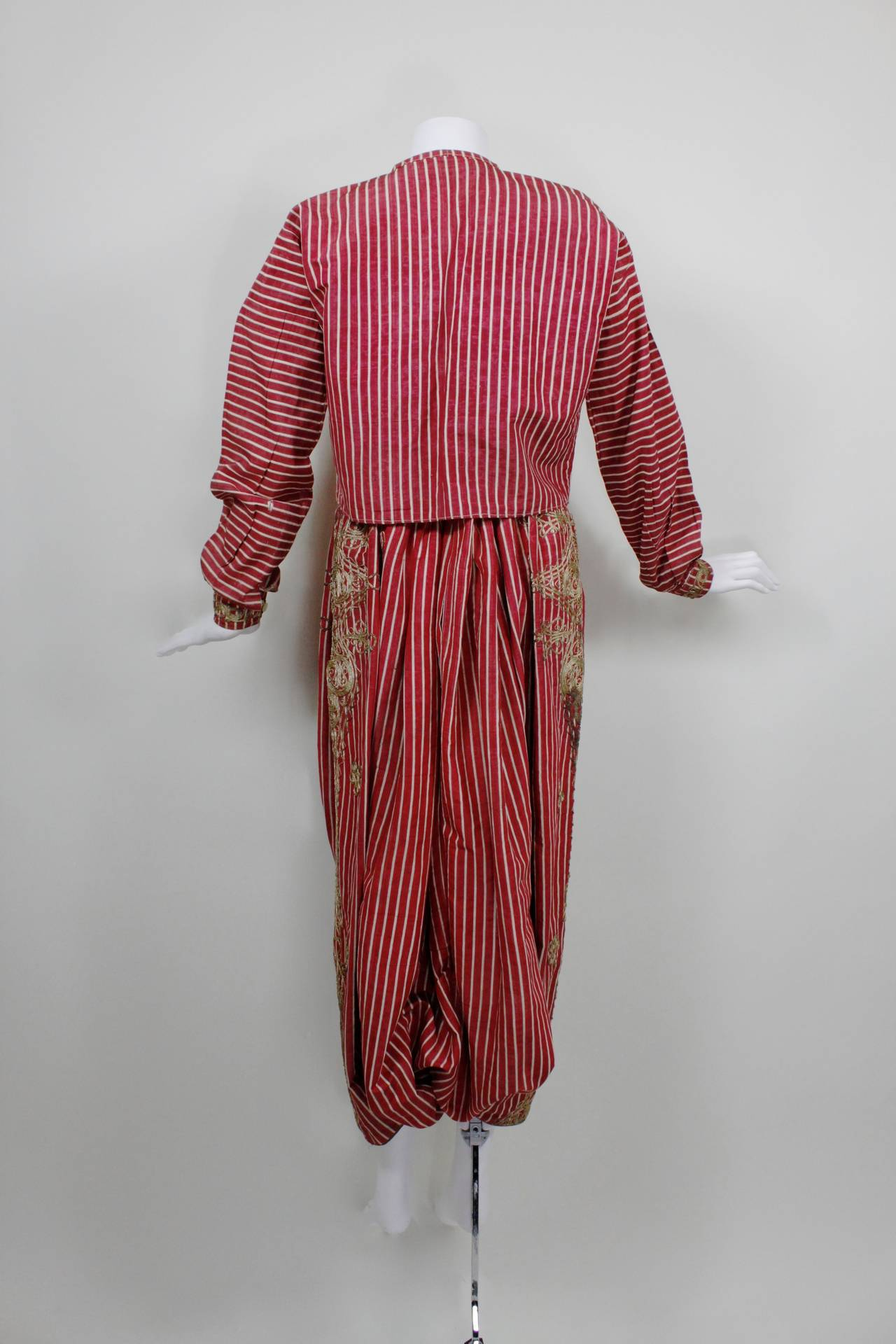 Turkish Silk Moire Striped Harem Pant Ensemble with Bullion Embroidery 5