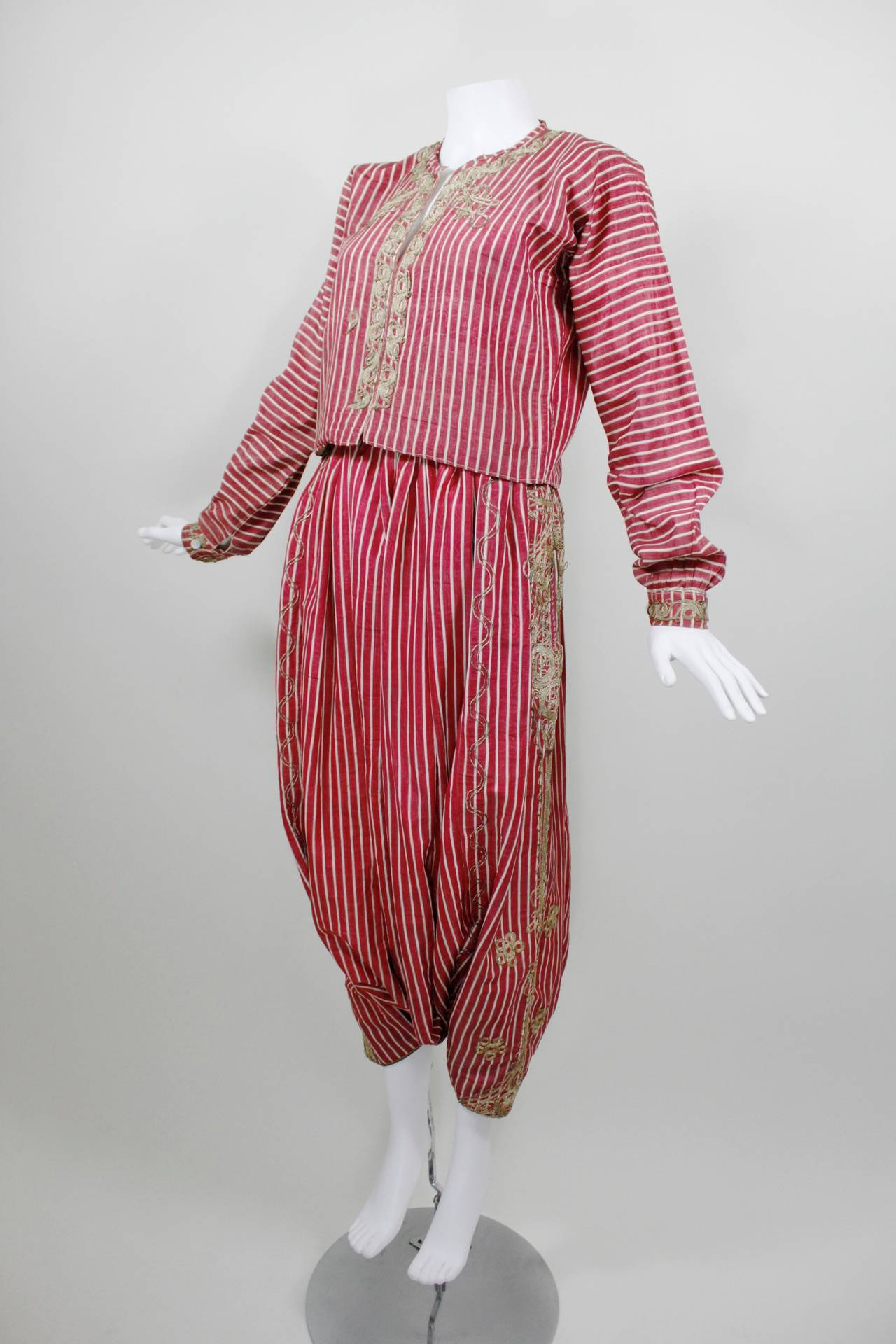 Turkish Silk Moire Striped Harem Pant Ensemble with Bullion Embroidery 3