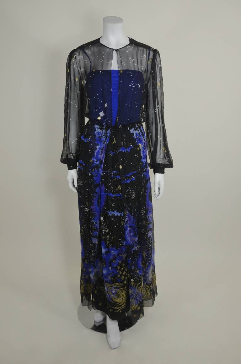 Orrier 1980s Celestial Chiffon and Lamé Gown Ensemble 4