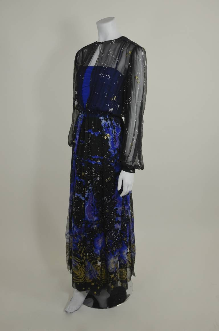 Orrier 1980s Celestial Chiffon and Lamé Gown Ensemble 5