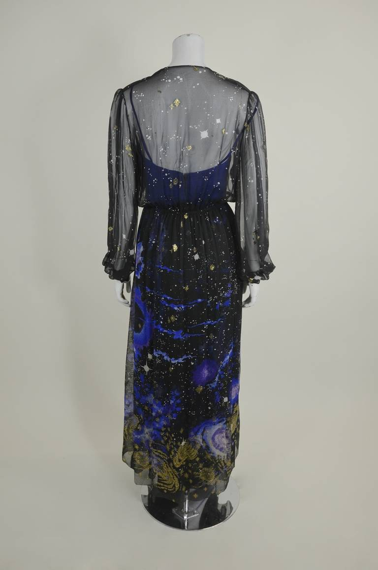 Orrier 1980s Celestial Chiffon and Lamé Gown Ensemble 6