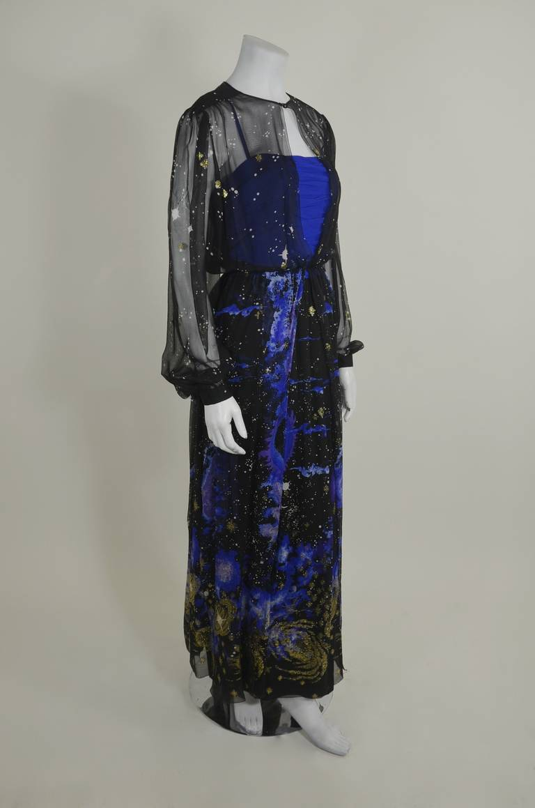 Orrier 1980s Celestial Chiffon and Lamé Gown Ensemble 7