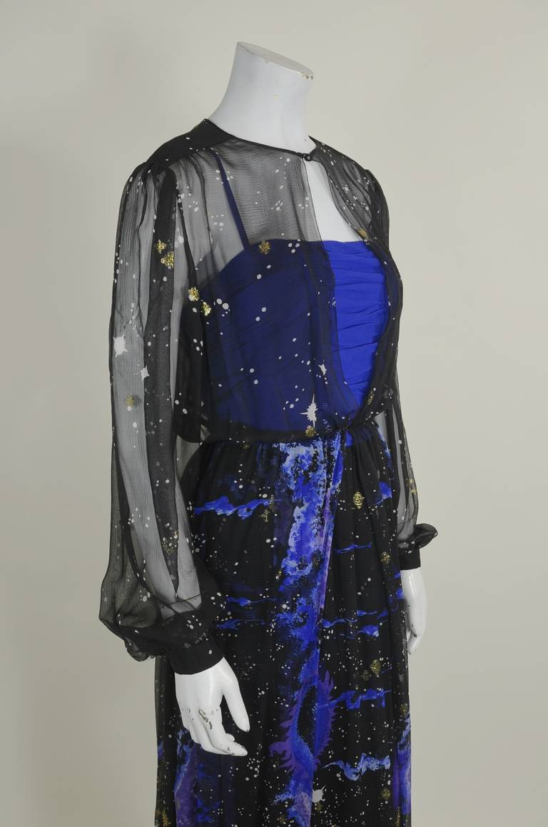 Orrier 1980s Celestial Chiffon and Lamé Gown Ensemble 8