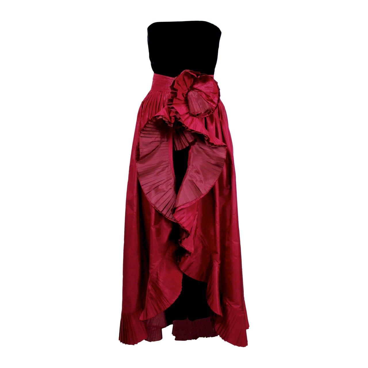 1980s Nina Ricci Velvet Strapless Jumpsuit with Silk Taffeta Overskirt For Sale