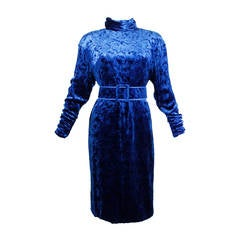 1980s Galanos Blue Textured Velvet Cocktail Dress with Belt