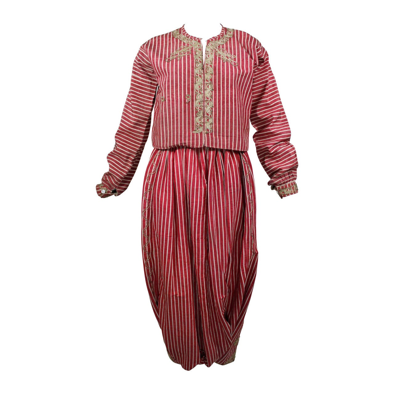 Turkish Silk Moire Striped Harem Pant Ensemble with Bullion Embroidery 1