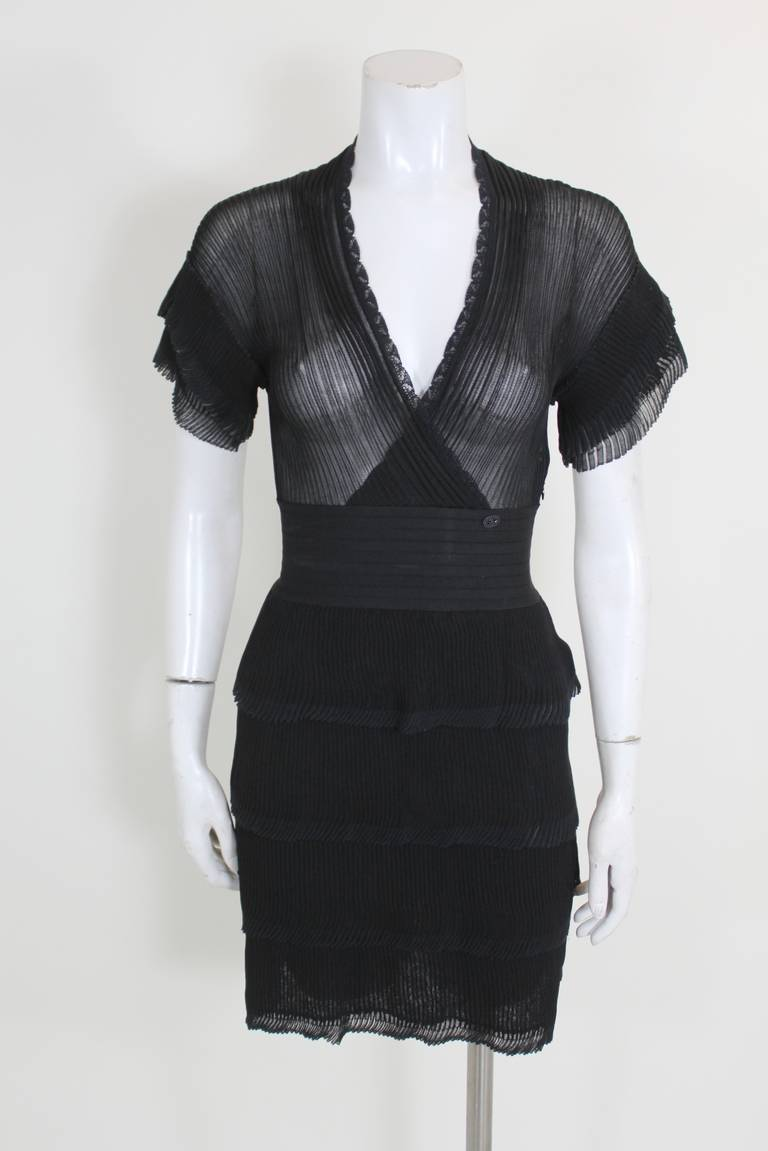 e639d184f21 Chanel Sheer Black Micropleated Cocktail Dress For Sale at 1stdibs