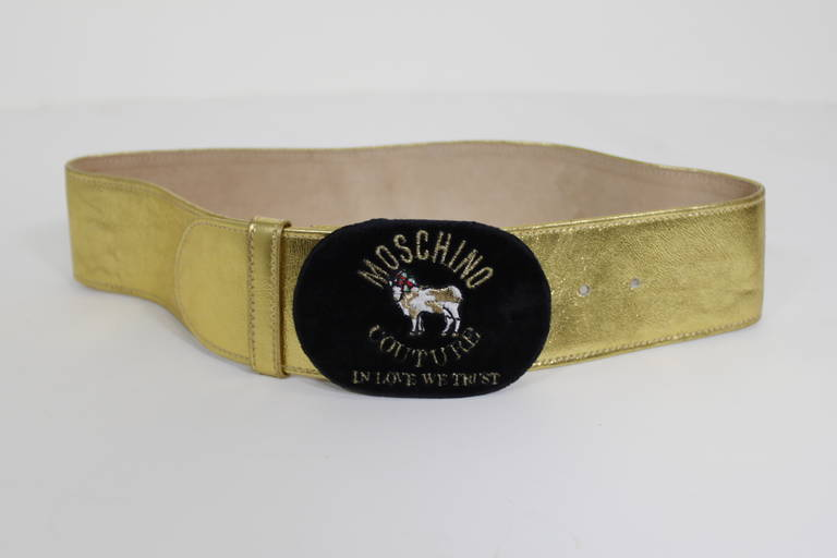 Moschino 1990s Velvet Buckle Gold Leather Belt  2