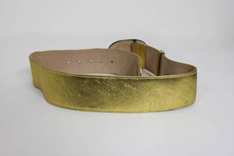 Moschino 1990s Velvet Buckle Gold Leather Belt  5