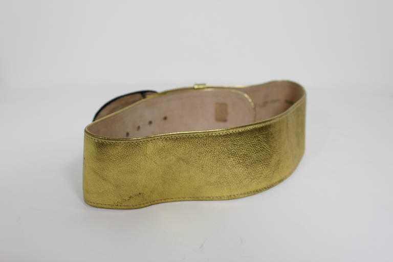 Moschino 1990s Velvet Buckle Gold Leather Belt  6
