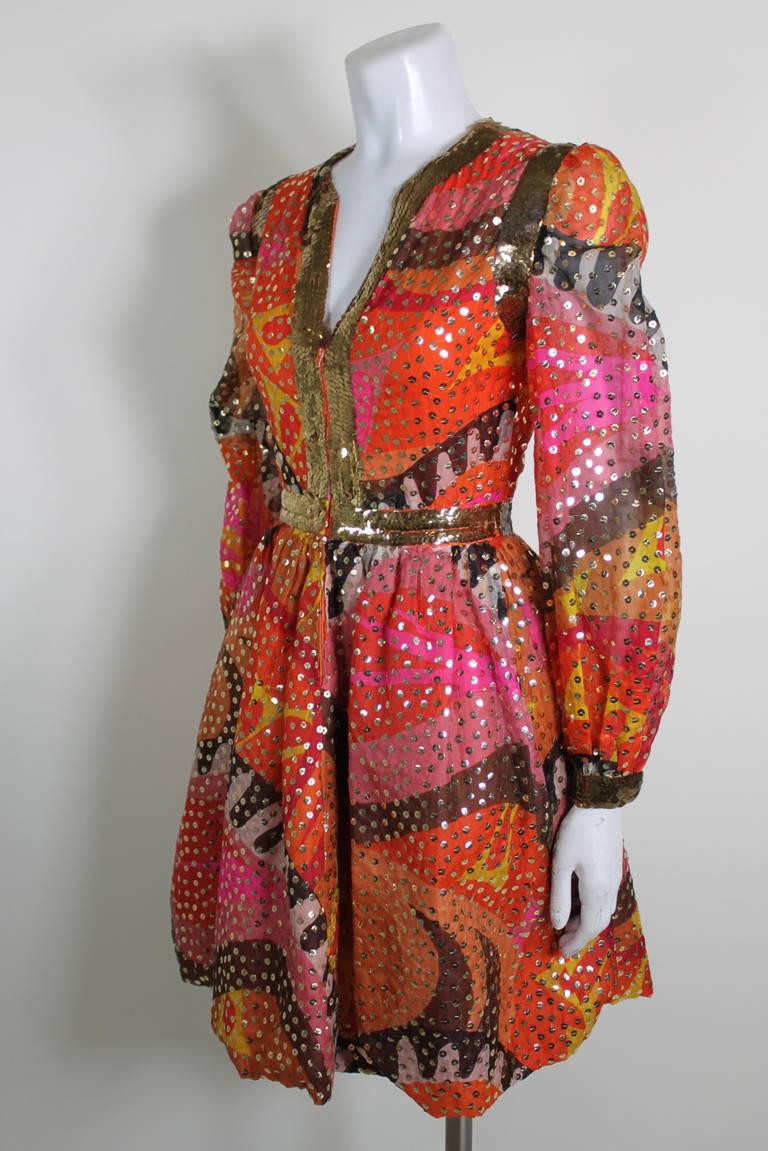 1960s Oscar de La Renta Dazzling Sequined Sherbet Party Dress 2