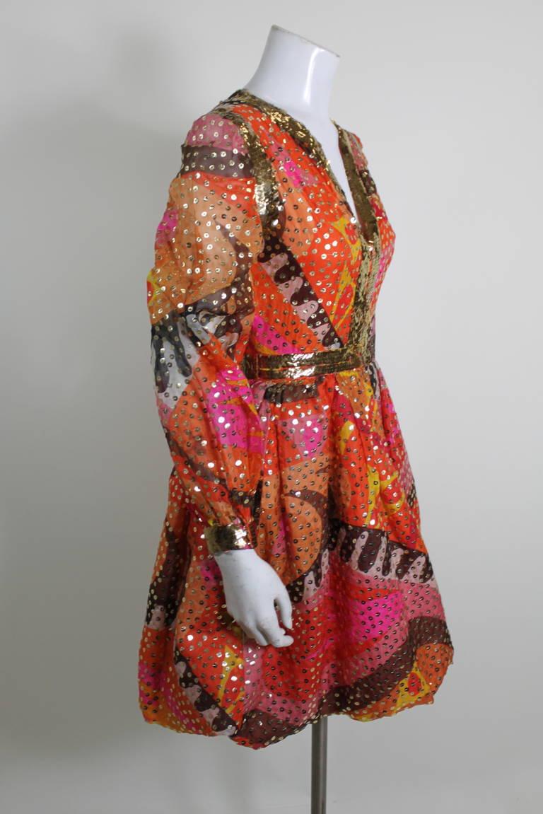 1960s Oscar de La Renta Dazzling Sequined Sherbet Party Dress 3